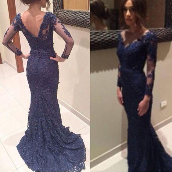 Long Mermaid Lace Prom Dresses with Long Sleeves pst0011