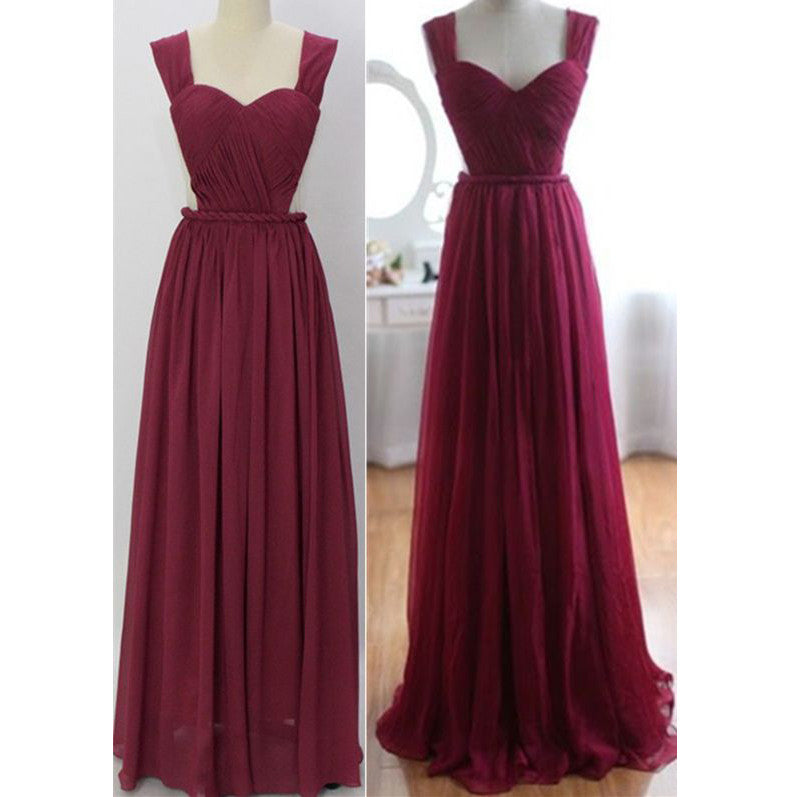 Sweetheart Long Chiffon Prom Gowns Ruched Bodice with Straps pst0012
