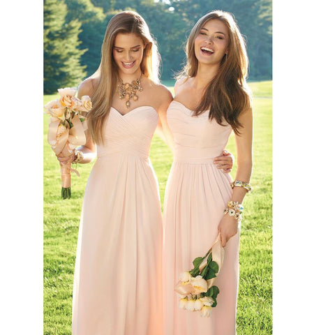 Sweetheart Floor Length Chiffon Bridesmaid Dresses Ruched Details pst0018