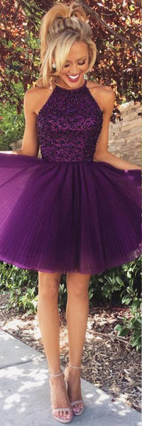 Short Prom Dress Halter Tulle Homecoming Dress Graduation Dresses with Keyhole Back pst0027