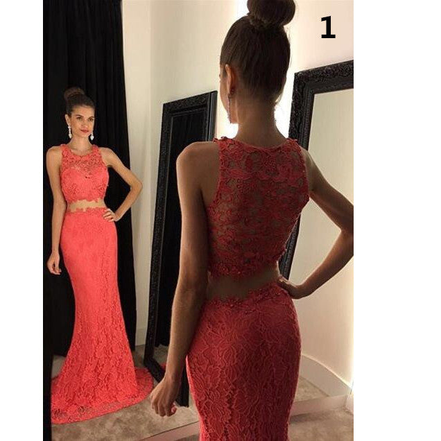 Two Piece Mermaid Lace Prom Gowns Illusion Neckline pst0034