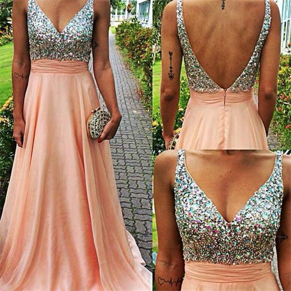 Sleeveless A Line Prom Gowns V Neckline Beaded Bodice Prom Dress pst0035