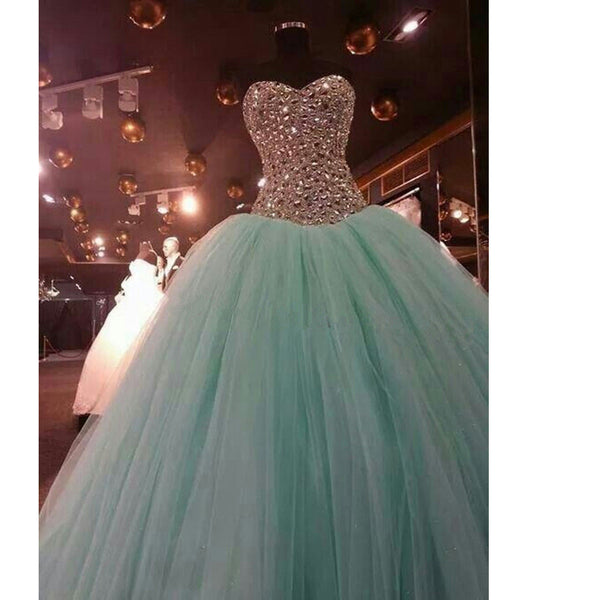 Ball Gown Prom Dresses Tulle Skirt Fully Beaded Bodice pst0044