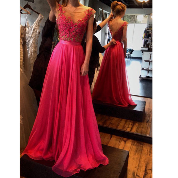 Floor Length Lace Bodeice Chiffon Prom Gowns V Back pst0053