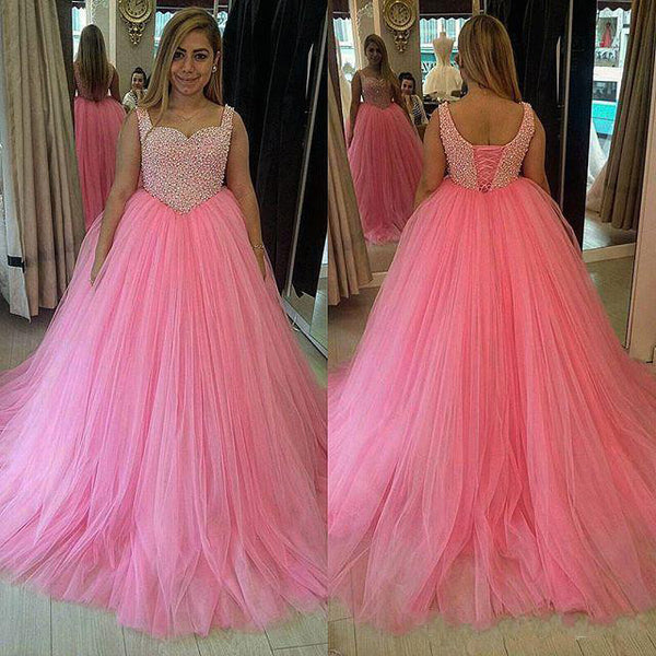 Pink Ball Gown Prom Dresses Tulle Skirt Fully Beaded Bodice pst0054