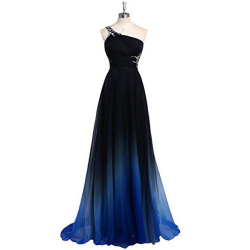 One Shoulder Gradient Prom Gowns with Applique pst0061