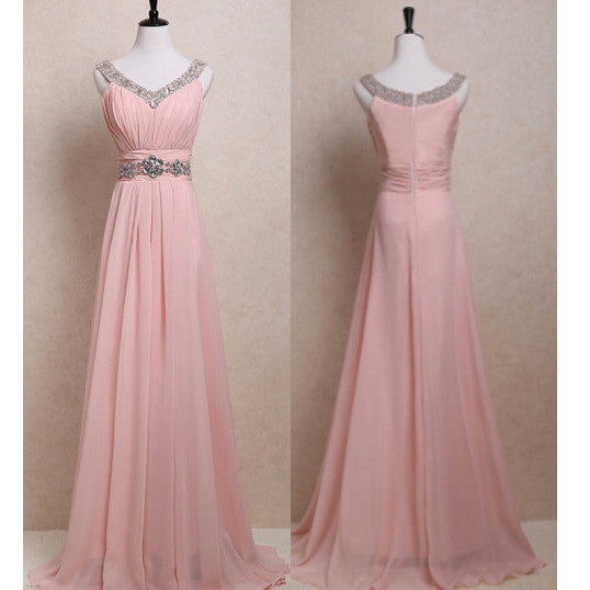 Pink Chiffon Prom Gowns Beaded V Neckline Zipper Back pst0066