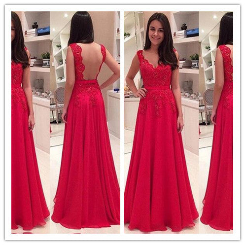 Floor Length A Line Sleeveless Red Lace Prom Dresses pst0069