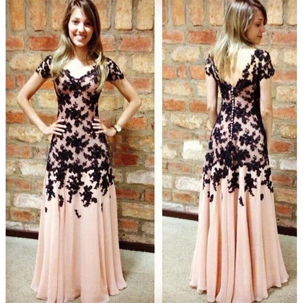 Short Sleeves Prom Dresses Black Lace Buttons Back pst0072