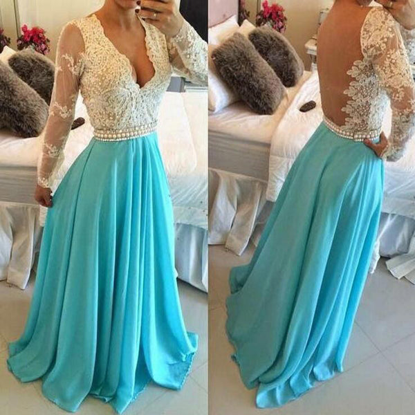 Floor Length Long Sleeves Evening Dresses Prom Gowns Pearls Waistband pst0076