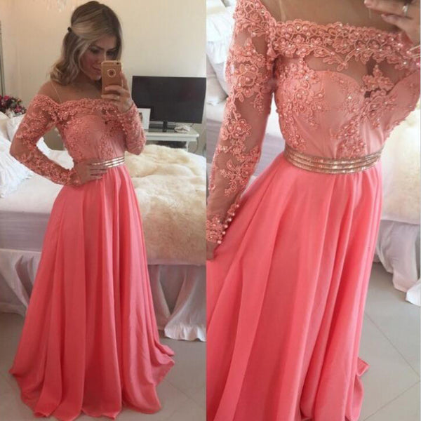 Floor Length Long Sleeves Lace Bodice Prom Gowns Evening Dresses pst0084