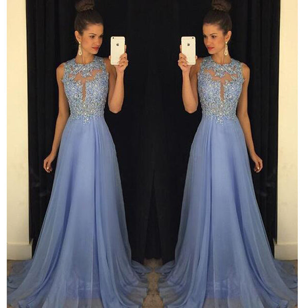 Sky Blue A Line Prom Dresses Tulle Skirt Lace Bodice pst0085