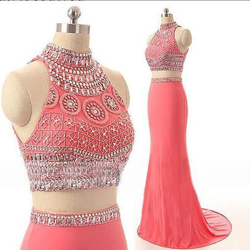 Two Piece Beaded Chiffon Evening Dresses Prom Dresses pst0089