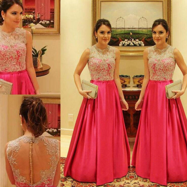 A Line Lace Bodice Celebrity Prom Dresses Evening Gowns pst0091