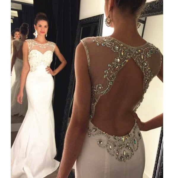 Mermaid Long Prom Dresses Beaded Bodice Keyhole Back pst0098