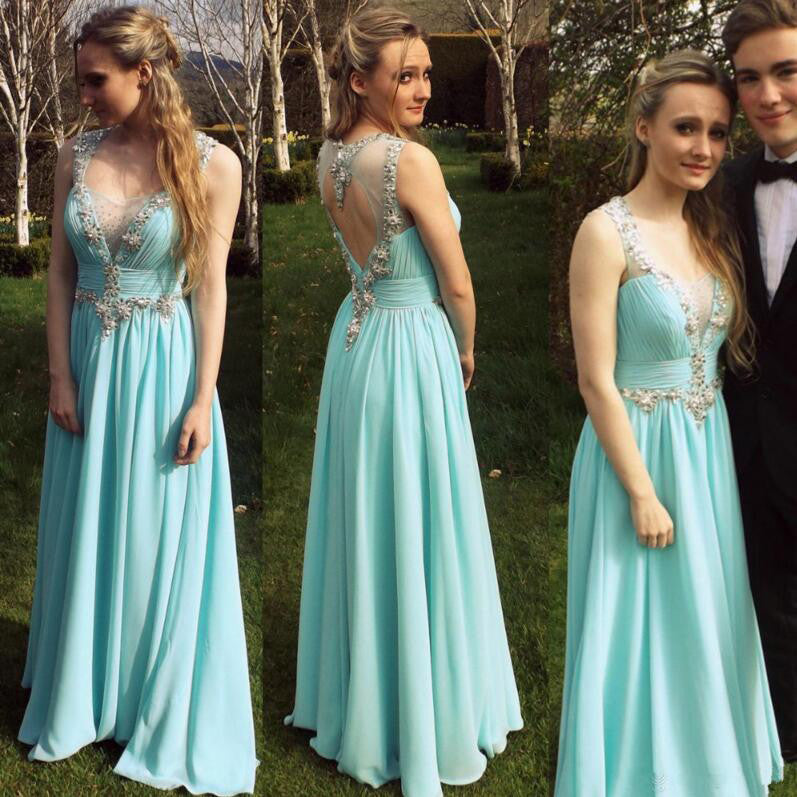 Light Blue Chiffon and Applique Prom Gowns pst0105