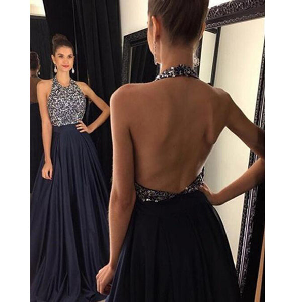Halter Neckline Fully Beaded Bodice Black Celebrity Prom Dresses pst0110