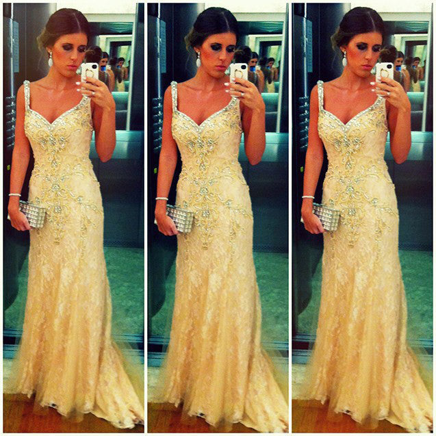 Bright Yellow Celebrity Lace Prom Dresses Spagetti Straps pst0112