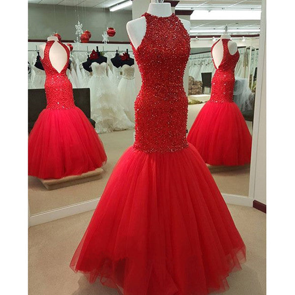 Mermaid Read Celebrity Prom Dresses Tulle Skirt pst0114