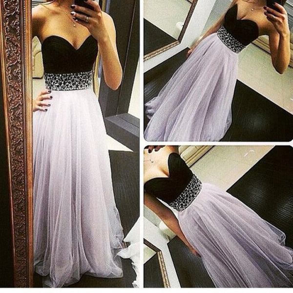 Black Tulle Prom Gowns Evening Dresses Sweetheart Beaded Embellishment pst0125