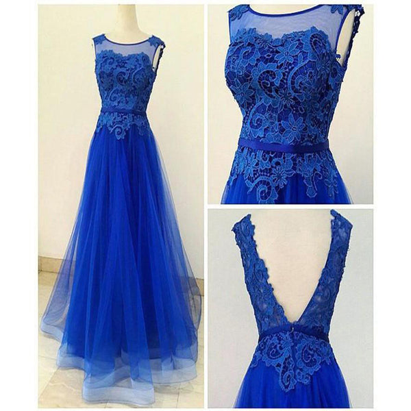 A Line Lace and Tulle Royal Blue Homecoming Dresses Prom Gowns pst0136