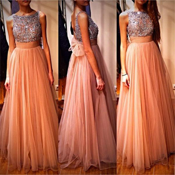 Long Tulle and Beads Prom Gowns with Back Bowknot pst0139
