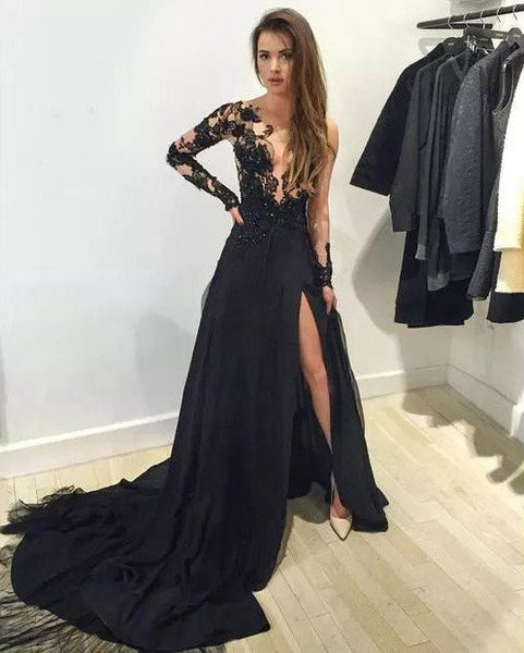 2017 Black Tulle and Lace Celebrity Prom Dress Evening Dresses Prom Gowns pst0143
