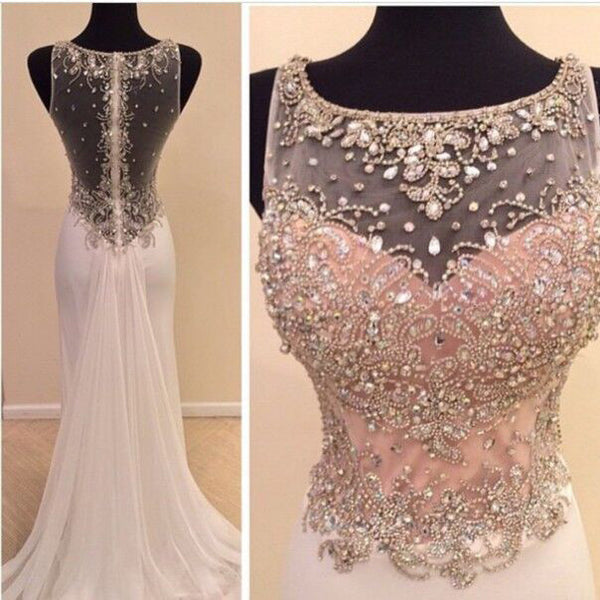 Long Mermaid Chiffon and Beads Prom Dresses pst0144
