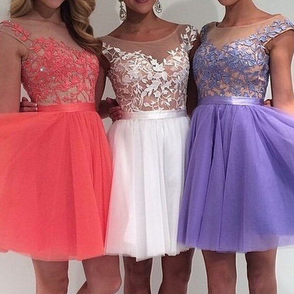 Knee Length Lace and Tulle Homecoming Dresses Prom Gowns pst0148