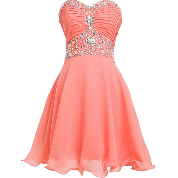 Knee Length Chiffon and Beads Homecoming Dresses pst0149