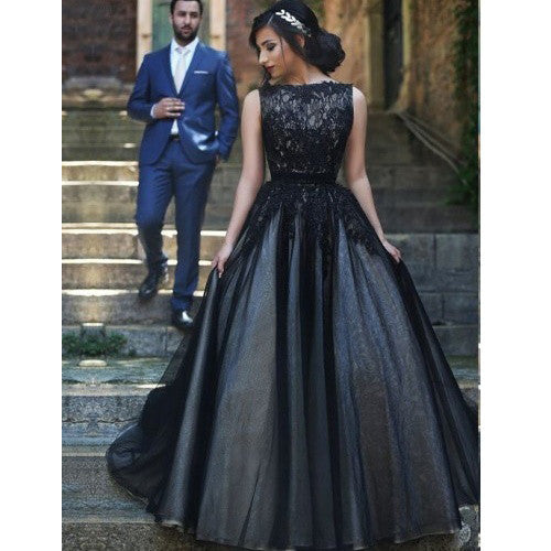 Black Celebrity Dresses Lace and Tulle Prom Gowns pst0150