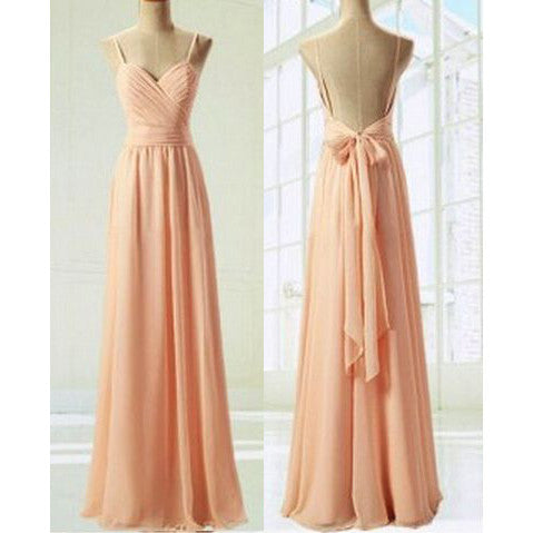 Chiffon Prom Dresses Spaghetti Straps with Back Bowknot pst0152
