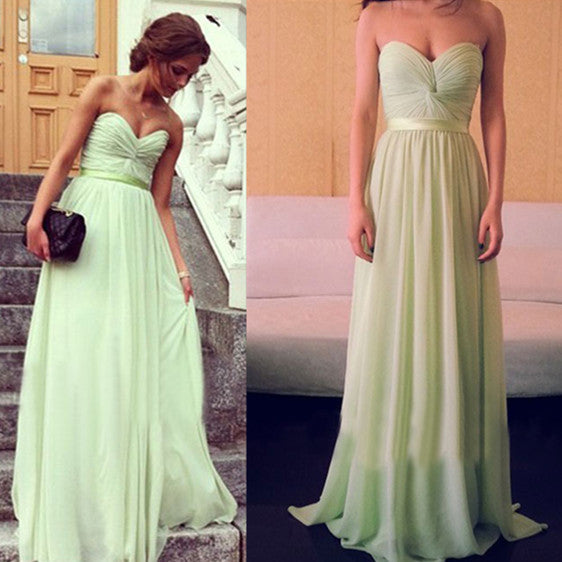 Strapless Sage Bridesmaid Dresses Prom Gowns pst0156