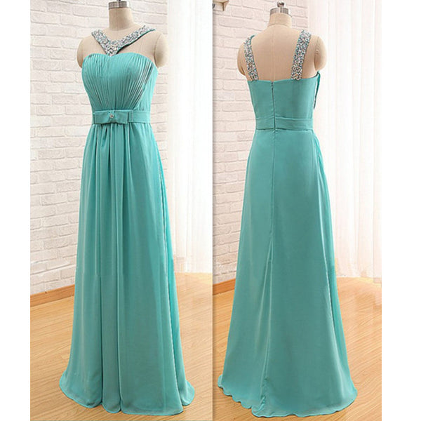 Floor Length Truquoise Chiffon Celebrity Prom Gowns pst0163