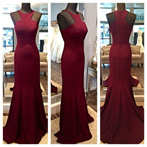 Mermaid Burgundy Prom Gowns Homecoming Dresses pst0178