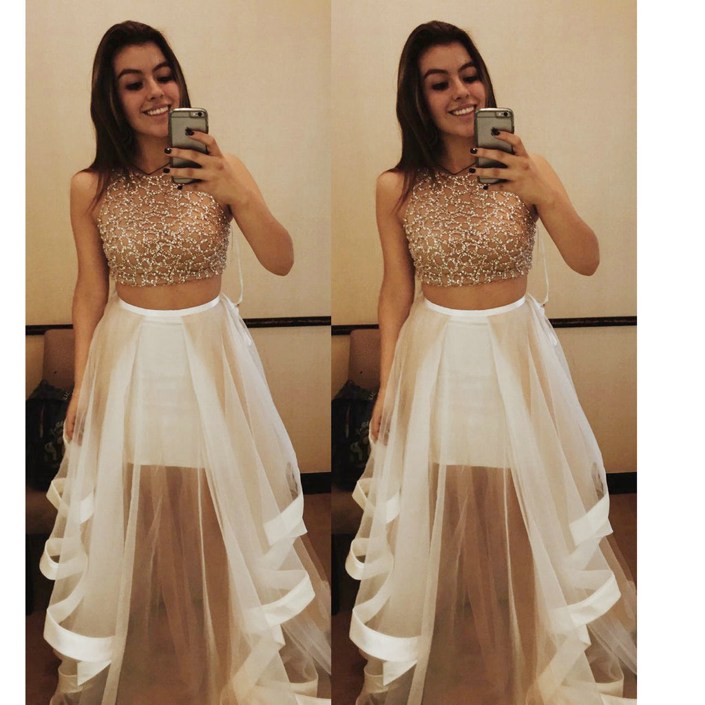 2016 Two Piece Sey Prom Dresses Tulle Skirt pst0183