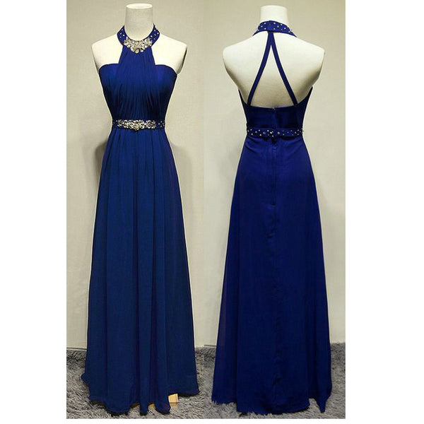 Royal Blue Chiffon Prom Dresses Evening Gowns Long pst0186