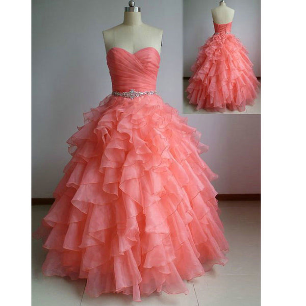 Ball Gown Watermelon Red Graduation Party Dresses pst0187