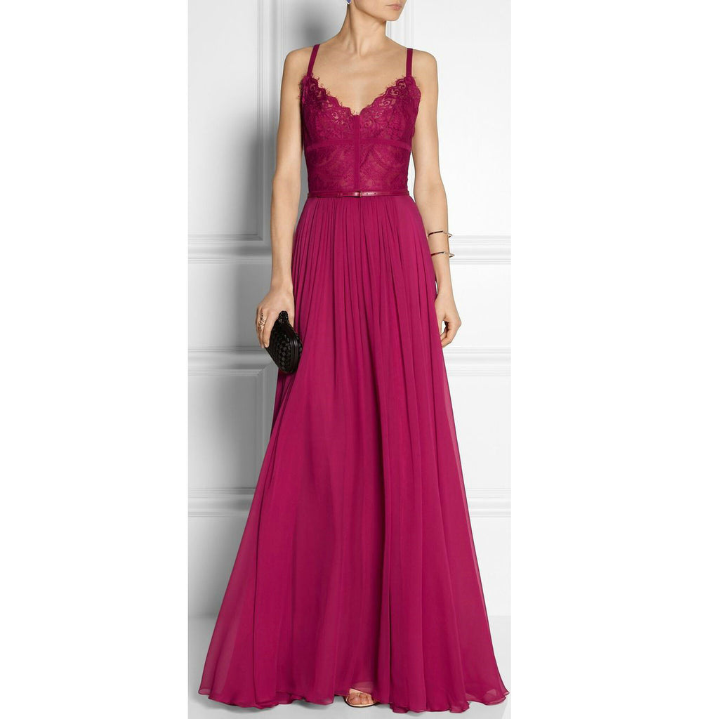Burgundy Chiffon and Lace Celebrity Prom Dresses Spagetti Straps pst0197
