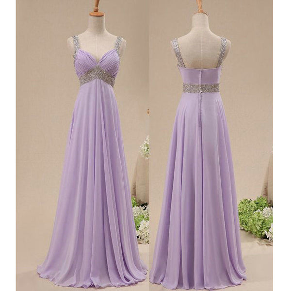 Lilac Chiffon and Beads Celebrity Prom Dresses pst0203
