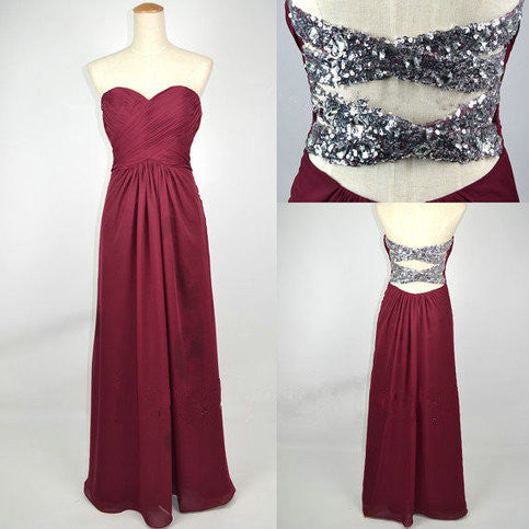 Simple Long Burgundy Prom Dresses Beaded Back pst0206