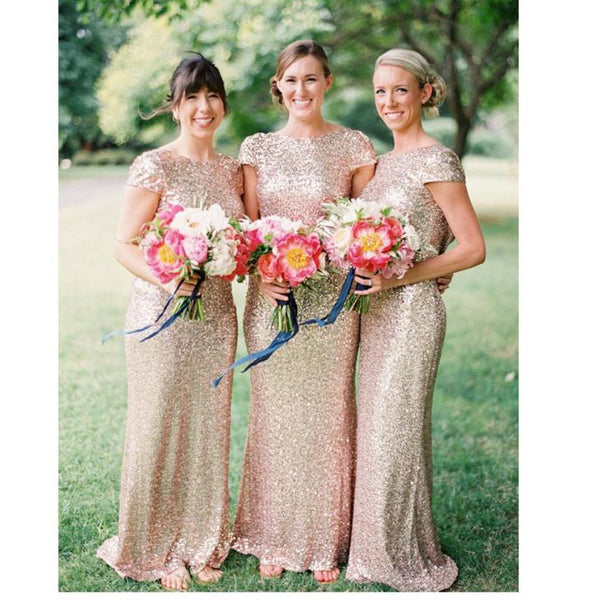 Gloden Shiny Celebrity Prom Dresses Bridesmaid Dresses pst0228