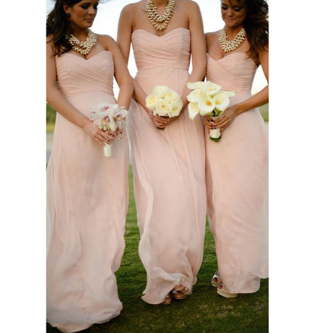 Chiffon Floor Length Bridesmaid Dresses Sweetheart Neckline pst0229