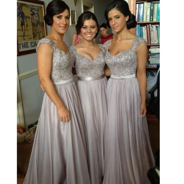 Floor Length Lace Top Bridesmaid Dresses Prom Dress pst0230