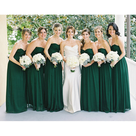 Dark Green Chiffon Bridesmaid Dresses pst0232