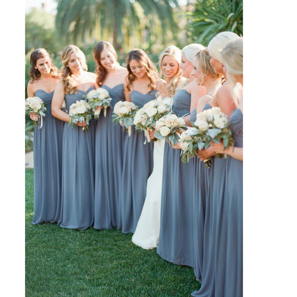 Chiffon Floor Length Sweetheart Bridesmaid Dresses pst0235