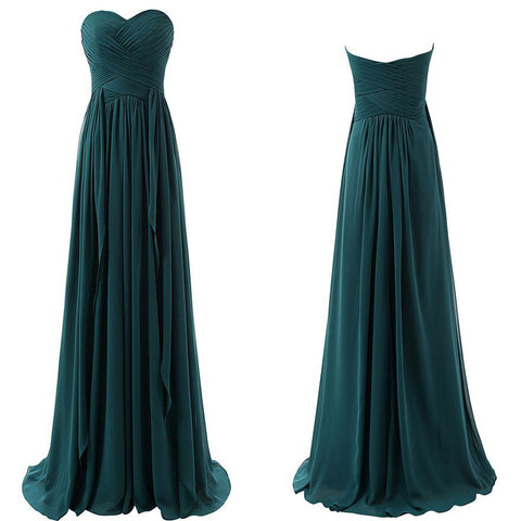 Teal Floor Length Chiffon Bridesmaid Dresses pst0238
