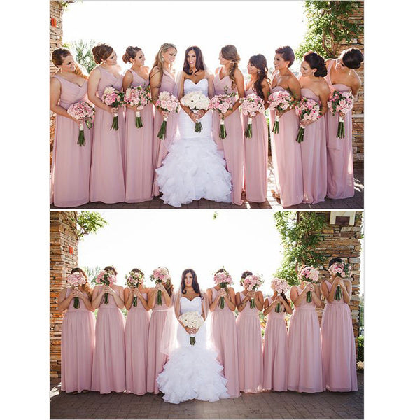 One Shoulder Floor Length Bridesmaid Dresses pst0253