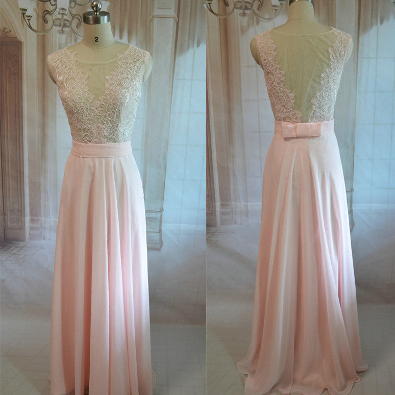 Soft Pink Floor Length Lace Prom Gowns Evening Dresses pst0256
