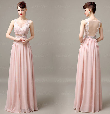 Soft Pink Floor Length Lace Prom Gowns Evening Dresses pst0257
